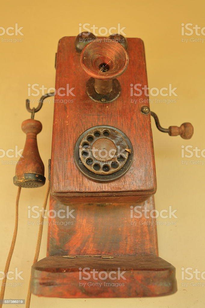 Old Wood Telephone stock photo