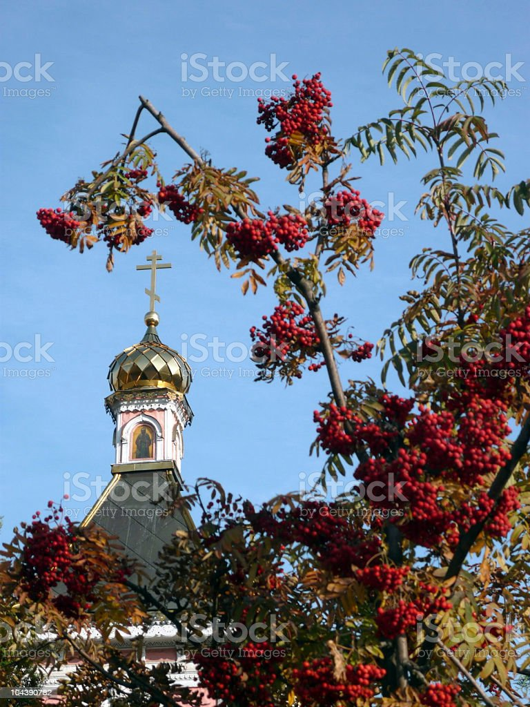 old wood temple bogorodskiy and ashberry royalty-free stock photo