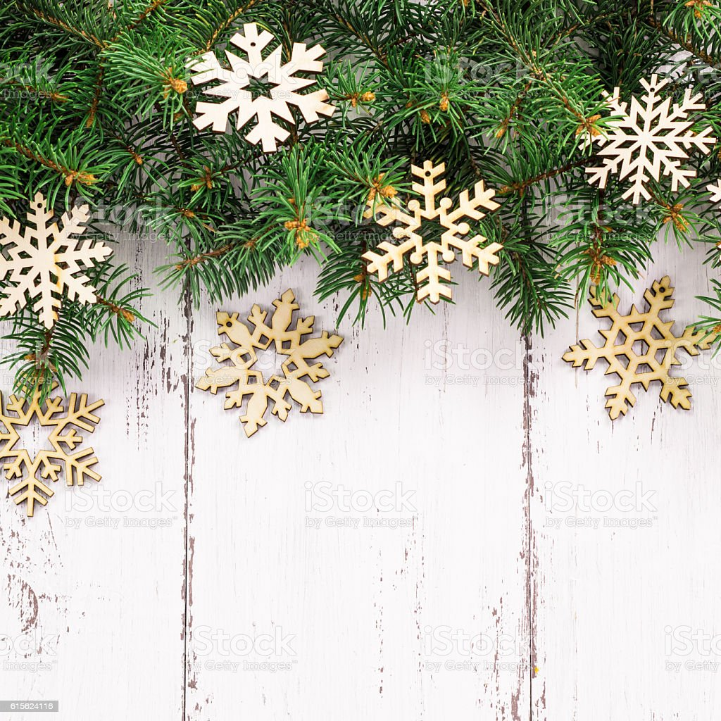 Old Wood Texture With Snow And Fir Tree Christmas Background Stock ...