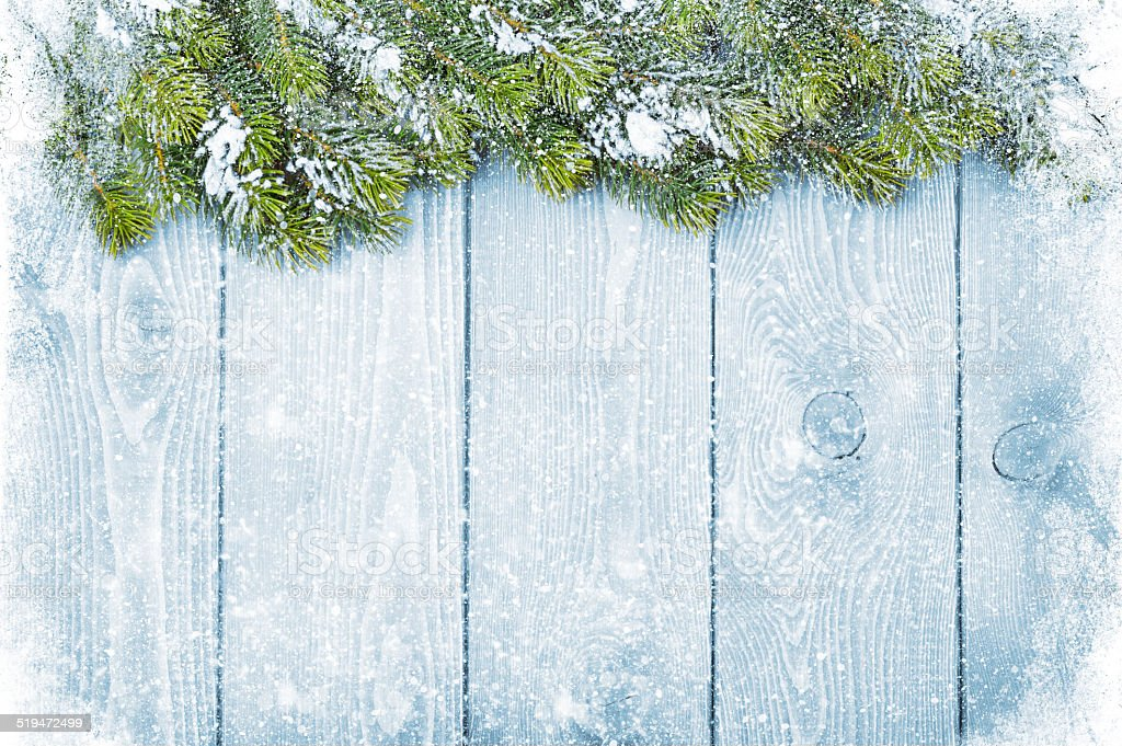 Old wood texture with snow and firtree stock photo