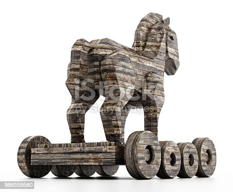 Old wood texturized trojan horse isolated on white.