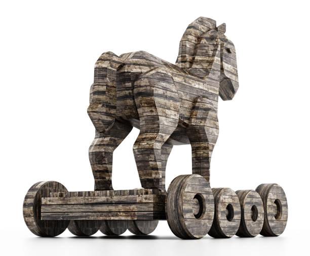 Altes Holz texturiert Trojanisches Pferd isoliert auf weiss – Foto