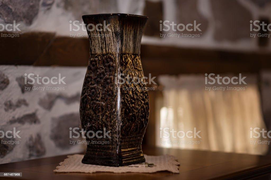Old wood vase in one Rhodope Bulgarian house stock photo