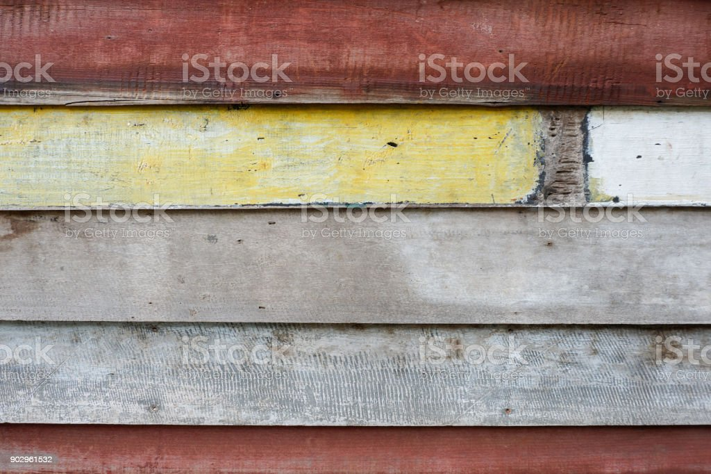 Old wood wall, painted wood plank texture background stock photo