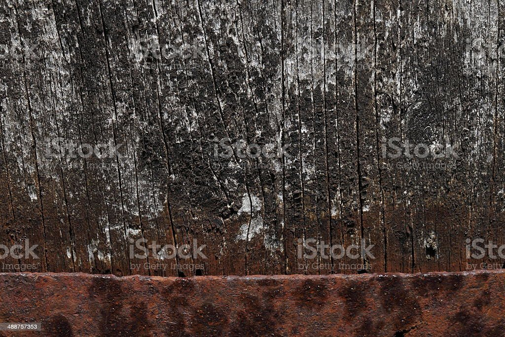 old wood with rusty iron royalty-free stock photo