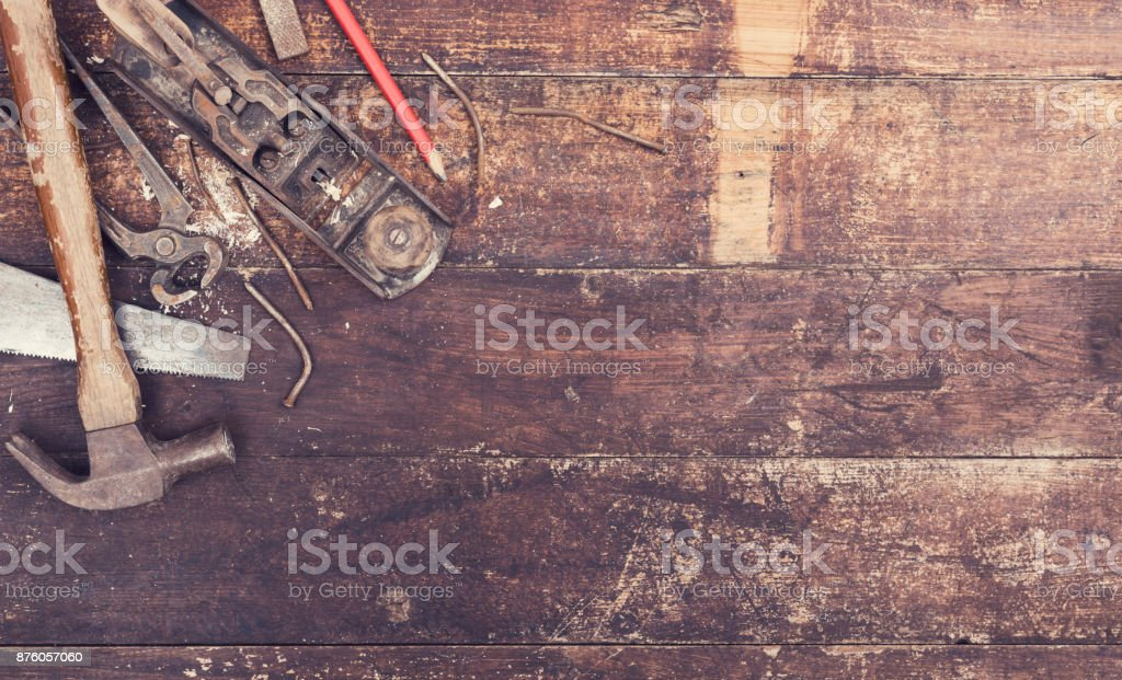 old wood work tools header stock photo