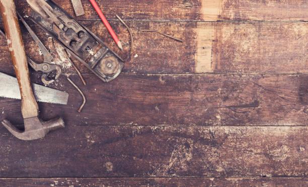 old wood work tools header stock photo