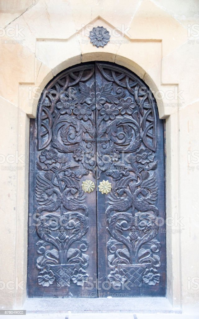 Old woodcarving church door in Lopushanski Monastery, Bulgaria stock photo