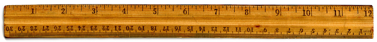 Old wooden 12 inch ruler with inch and centimeter markings.