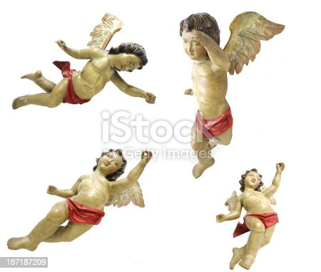 isolated old wooden angels