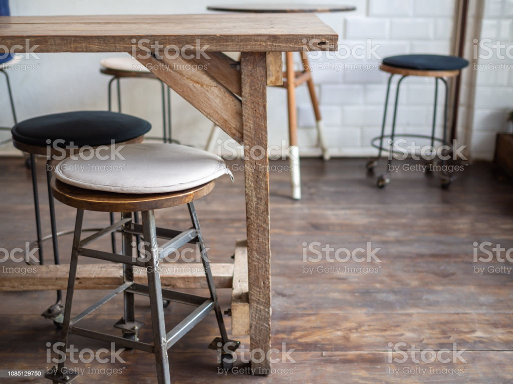 Groovy Old Wooden Bar Stools On Wooden Floor In Cafe Retro Style Forskolin Free Trial Chair Design Images Forskolin Free Trialorg