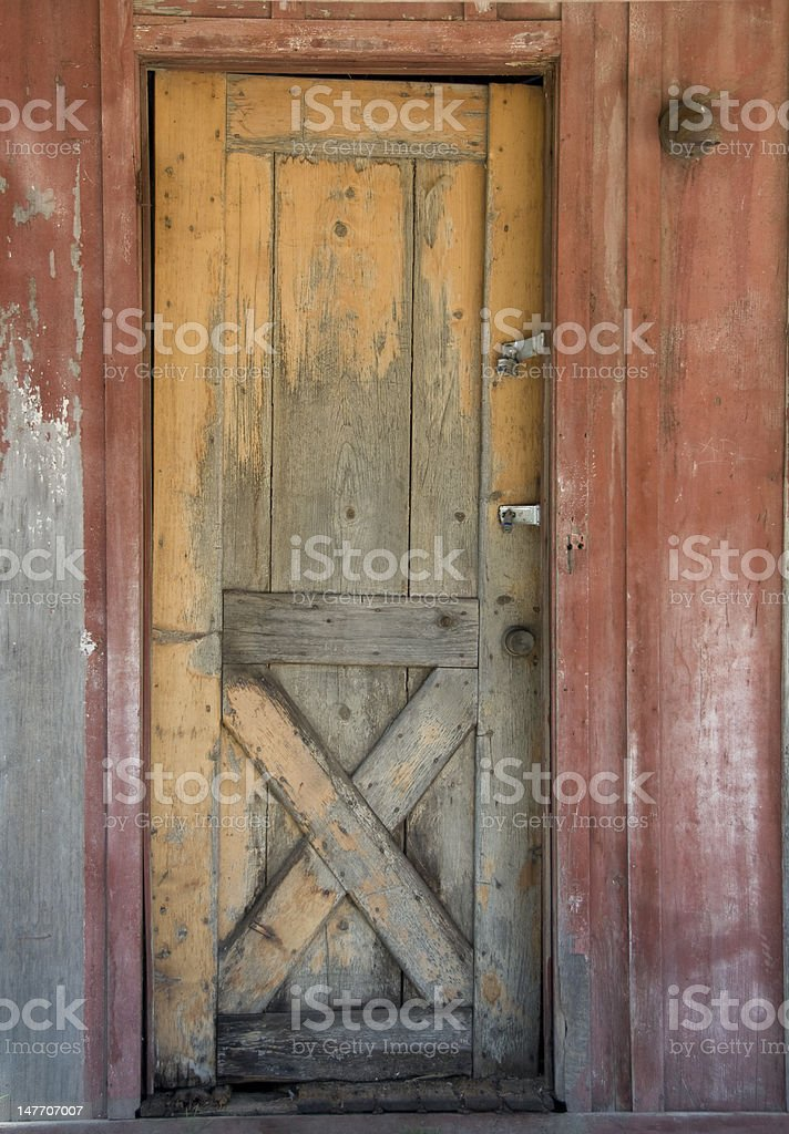 Old wooden barn door royalty-free stock photo
