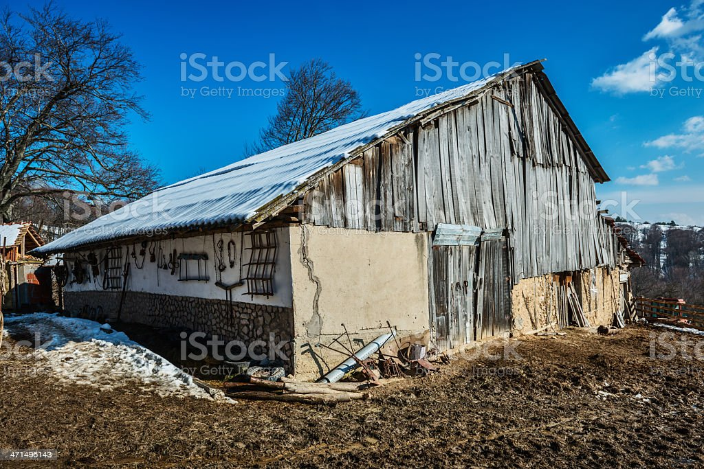 Old Wooden Barn in Village Farm royalty-free stock photo