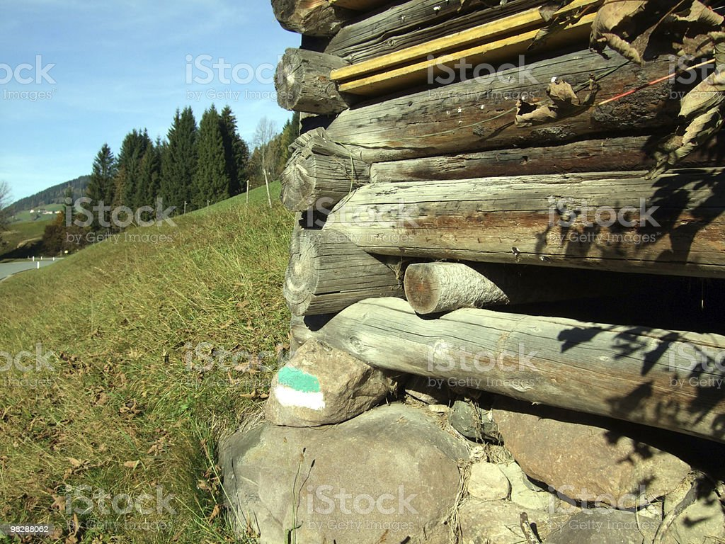 Old wooden Barn,Detail,olong a Road royalty-free stock photo