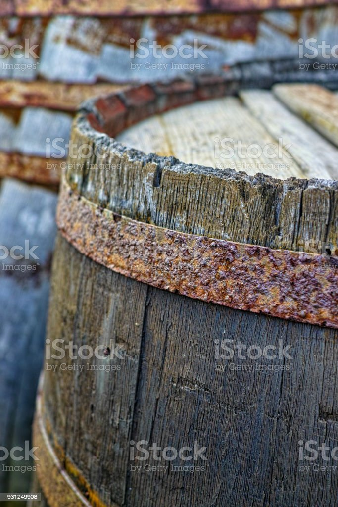 Old wooden barrel close up used voor wine, whiskey, other alcoholic drinks stock photo