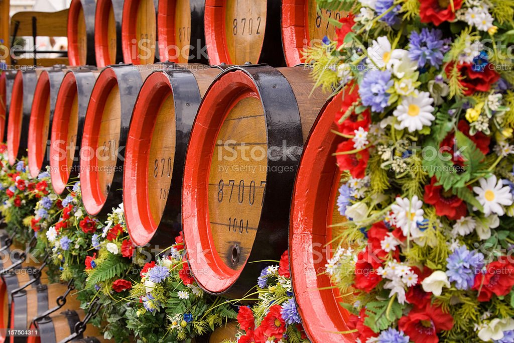 Old wooden beer kegs royalty-free stock photo