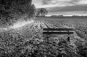 istock Old wooden bench in a ploughed field 1260115145