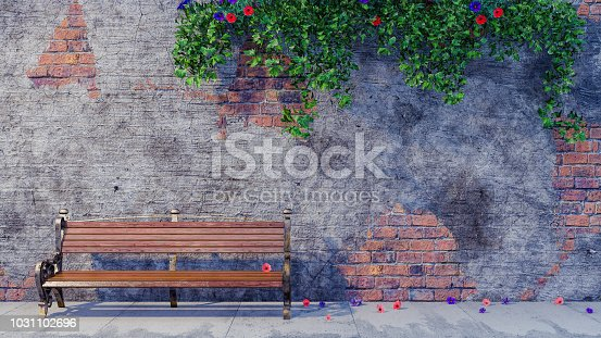 Old wooden bench in front of old brick wall background 3d render 3d illustration