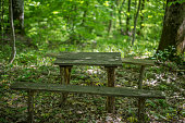 istock Old wooden benches and a table in the forest. 815215572