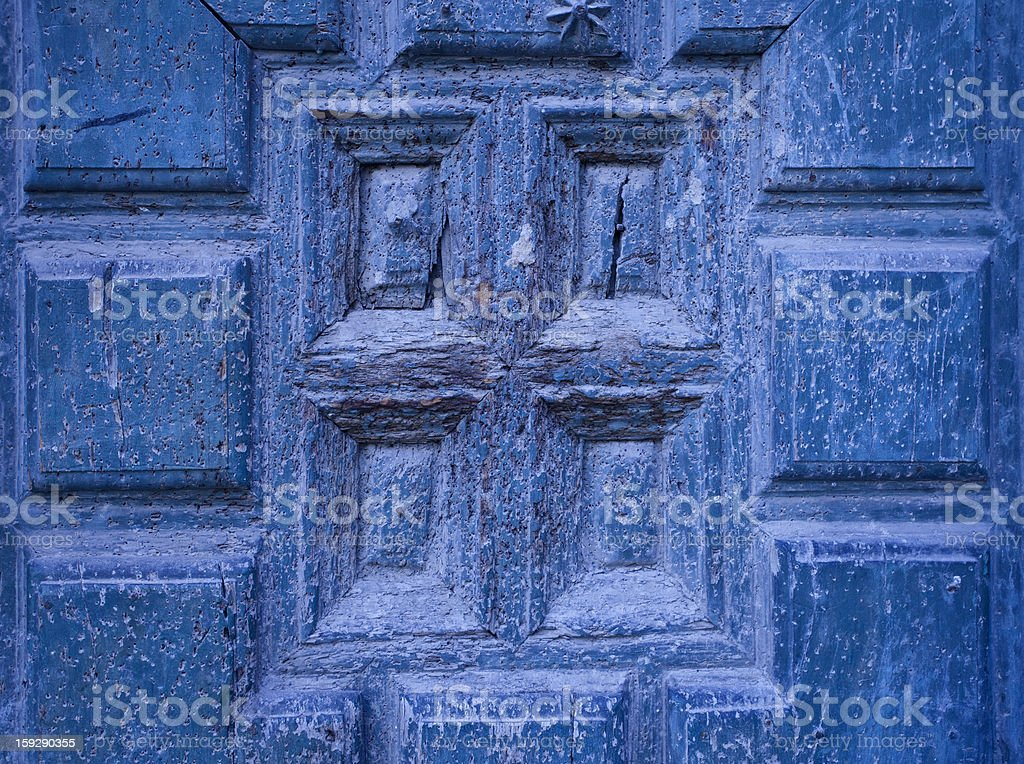 Old Wooden Blue Door Detail royalty-free stock photo