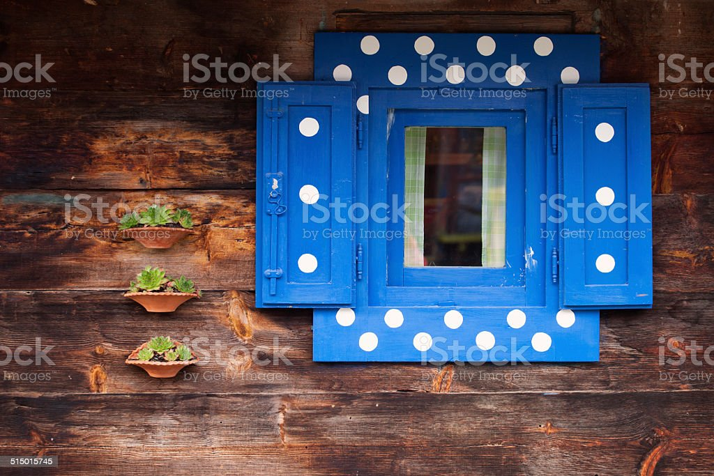 old wooden blue window stock photo