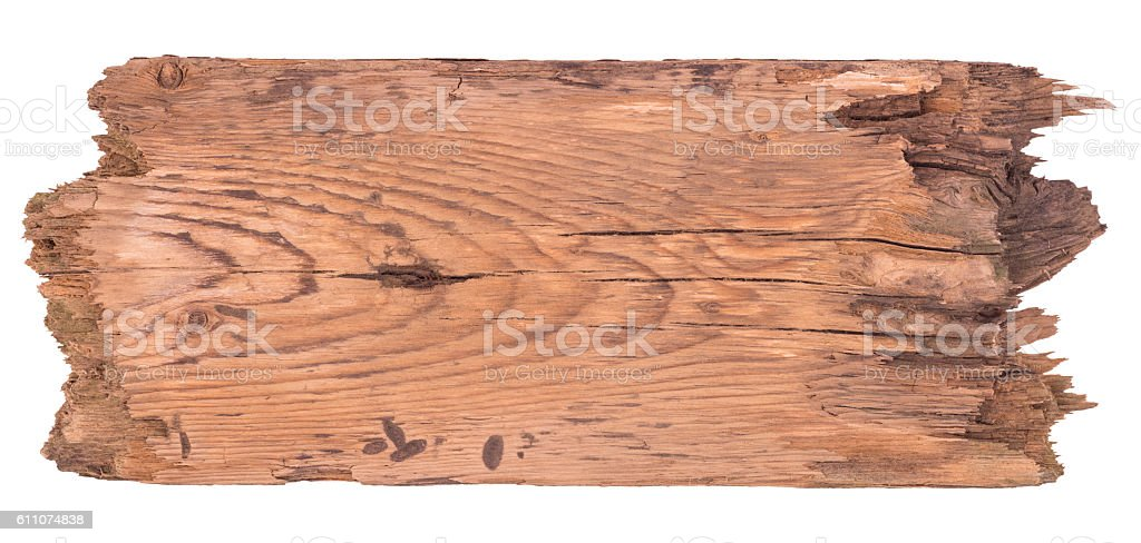 Old wooden board isolated on a white background. stock photo