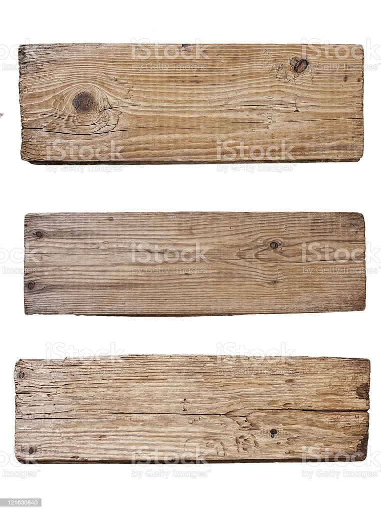 old wooden board  isolated on white background stock photo