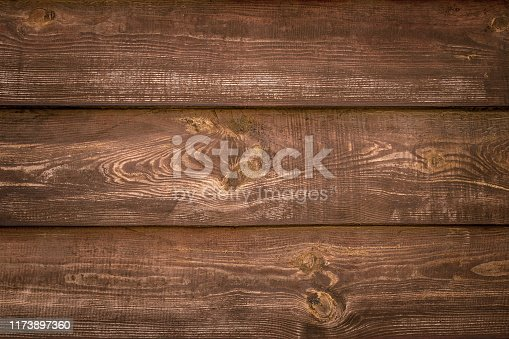 Old wooden boards from tree. Pattern of brown shabby wood planks. Rustic table of alder. Vintage timber background. Space texture