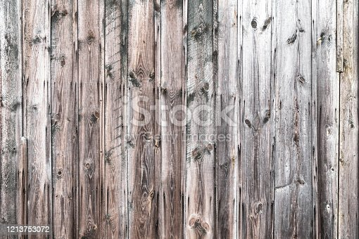 Texture of an old weathered wooden board with peeling paint. Vintage rough grunge background