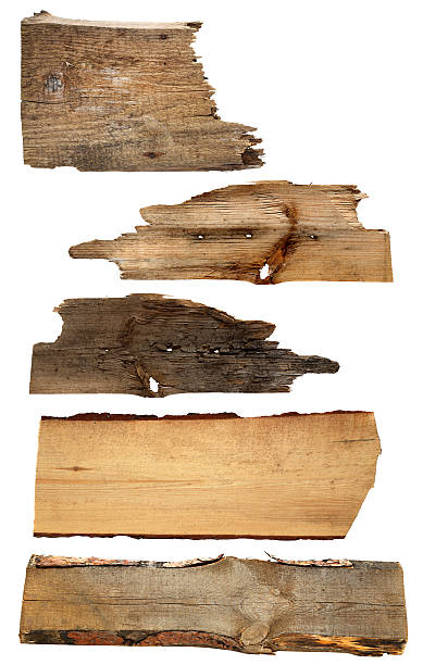 old wooden boards isolated on a white background stock photo