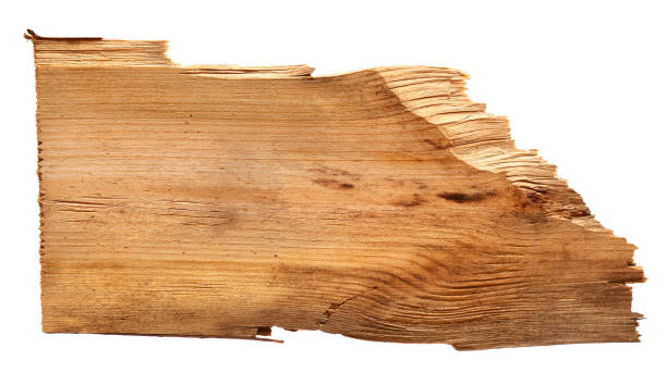 old wooden boards isolated on white background. close up of an empty wooden sign with clipping path stock photo
