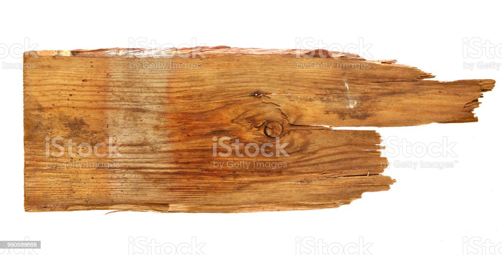 old wooden boards isolated on white background. close up of an empty wooden sign stock photo