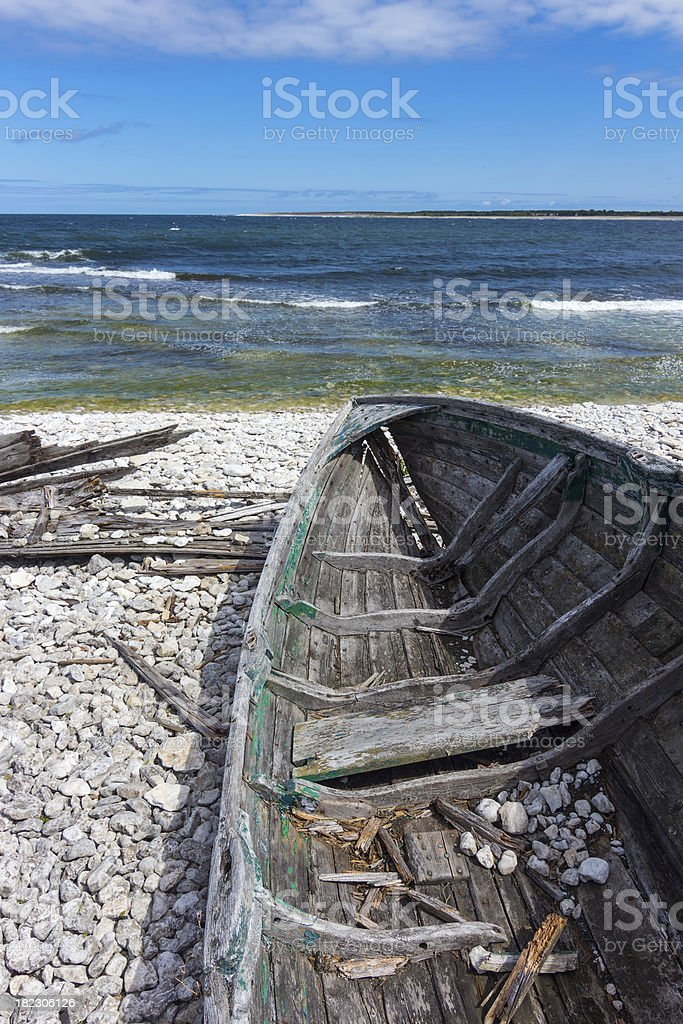 Old wooden boat on the seashore royalty-free stock photo