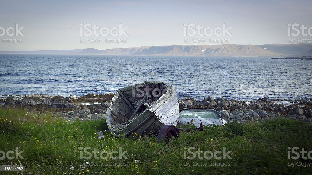 Old wooden boat (wreck) stock photo