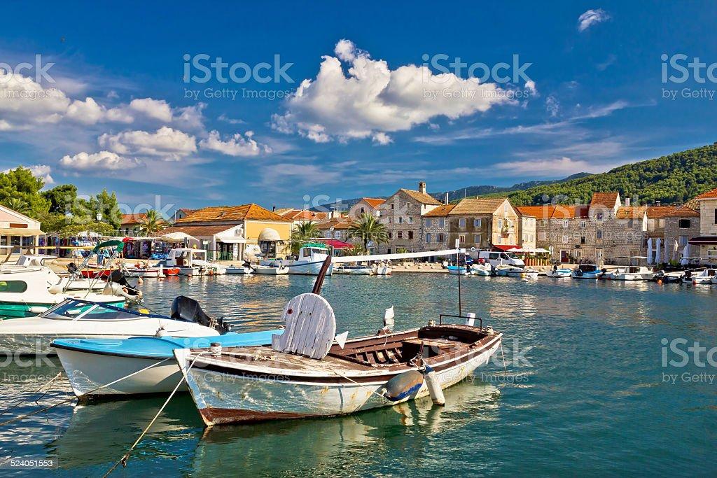 Old wooden boats in Stari Grad stock photo