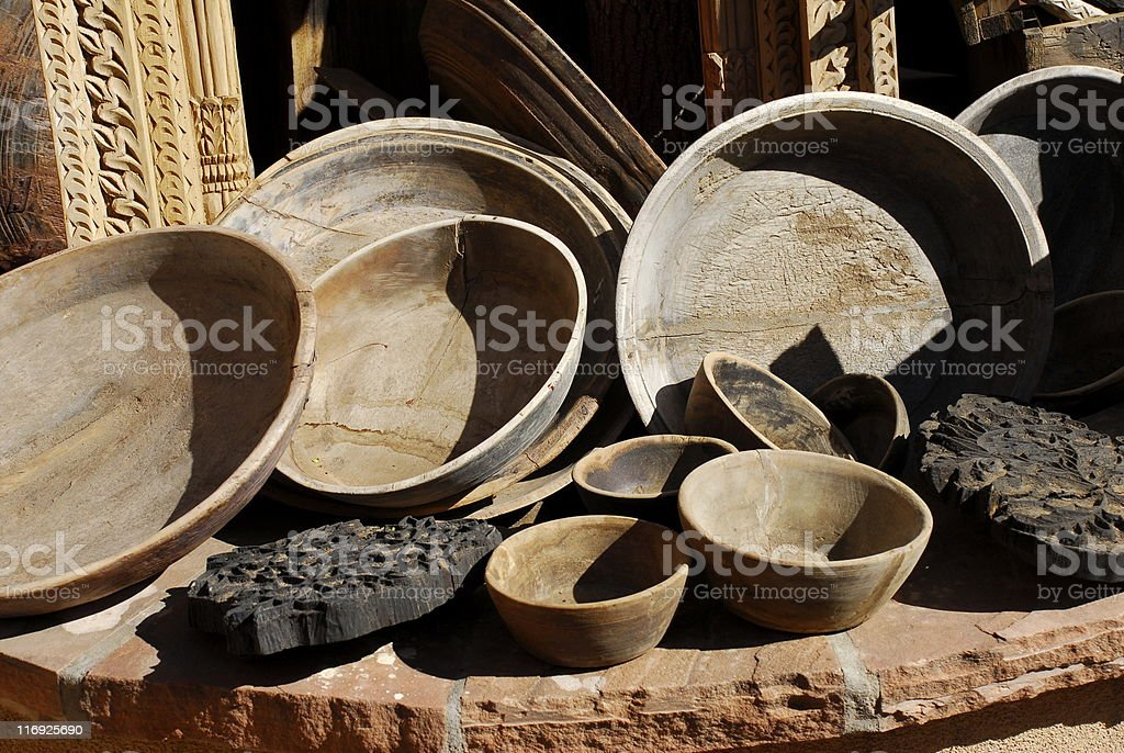 Old Wooden Bowls royalty-free stock photo
