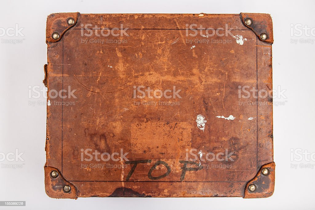 Old Wooden Box with Riveted Leather Corners, High Angle, 4 stock photo
