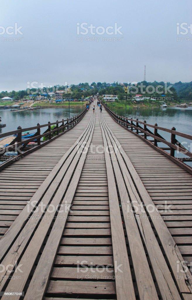 old wooden bridge (Mon bridge) at Sangkhlaburi, Kanchanaburi, Thailand stock photo
