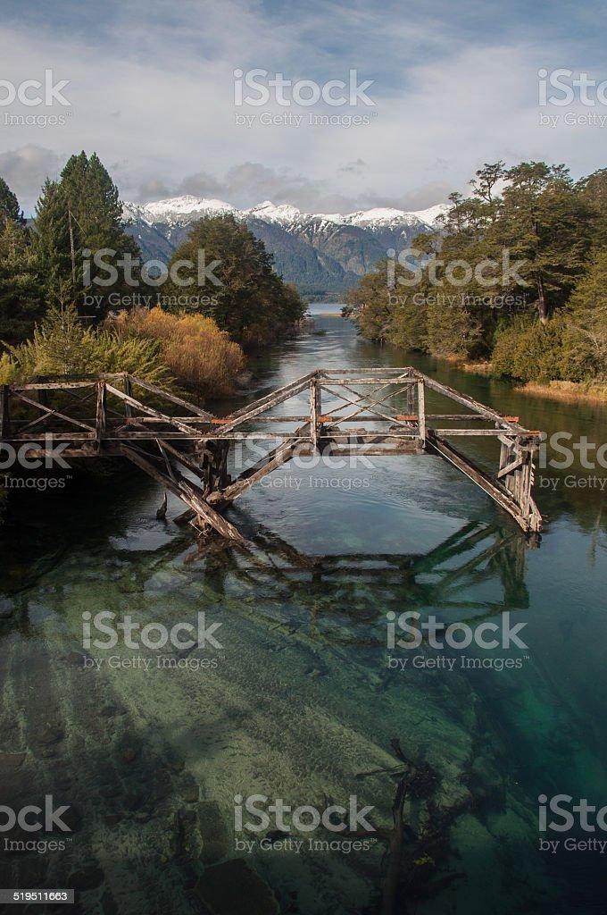 Old wooden bridge on Seven Lakes Road, Argentina stock photo