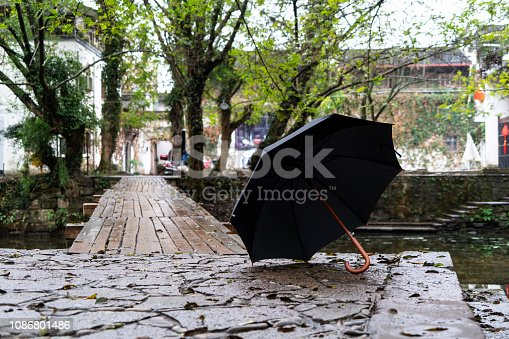 old wooden bridge over river in rain