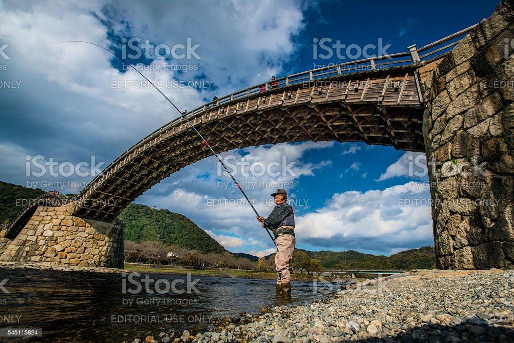 KINTAI old wooden bridge stock photo