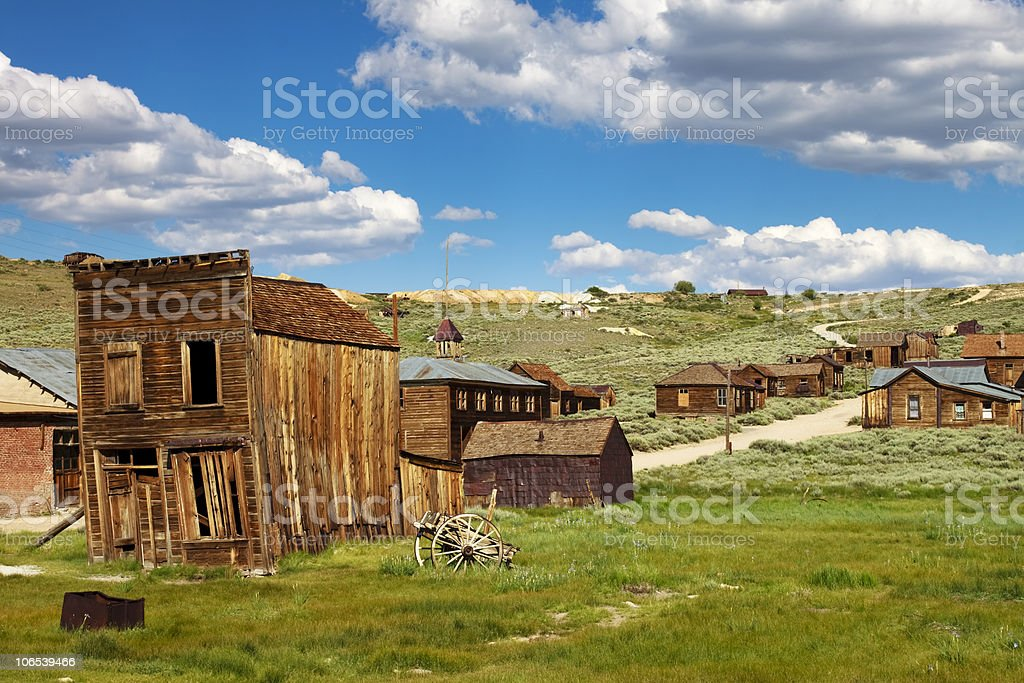 Old Wooden Buildings Of A Ghost Town stock photo