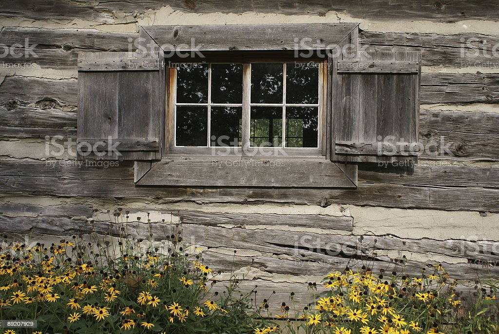 Old Wooden Cabin Window stock photo