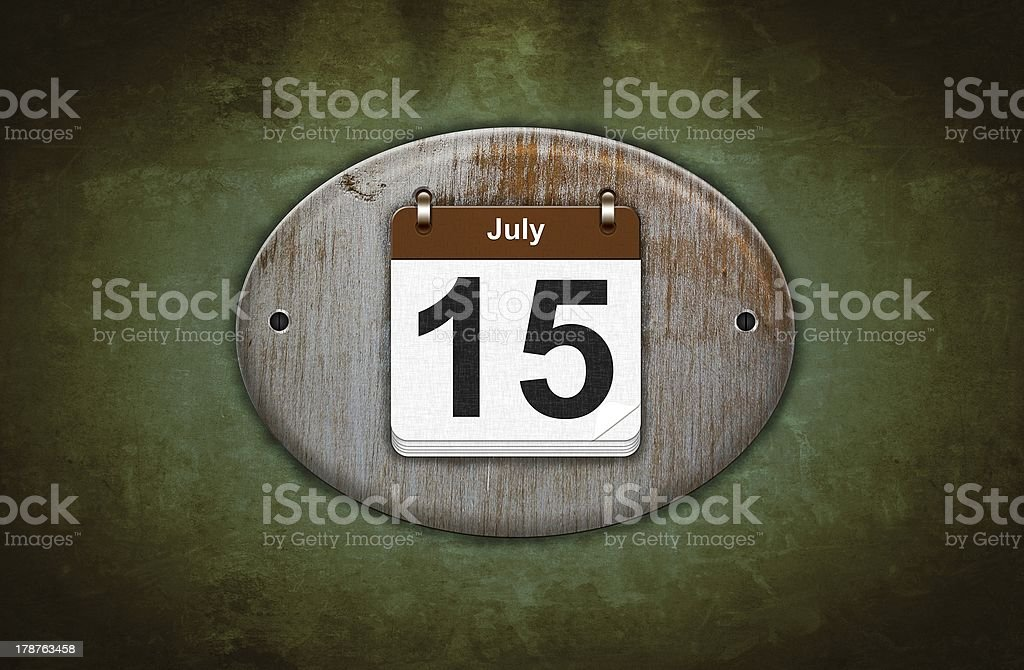 Old wooden calendar with July 15. stok fotoğrafı