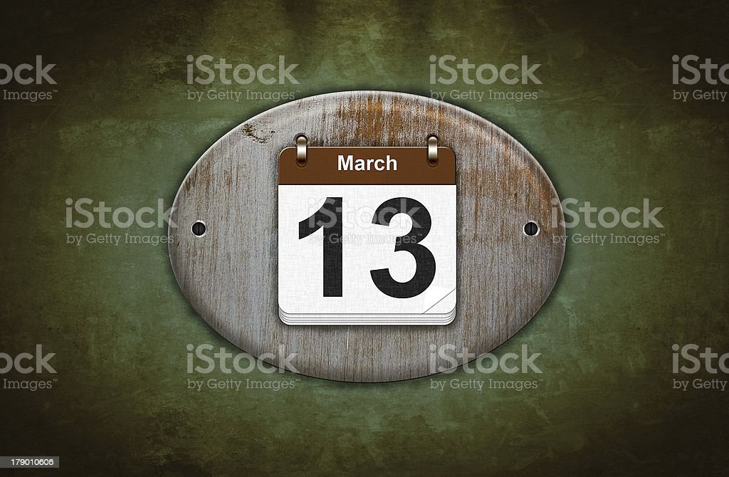 Old wooden calendar with March 13. royalty-free stock photo