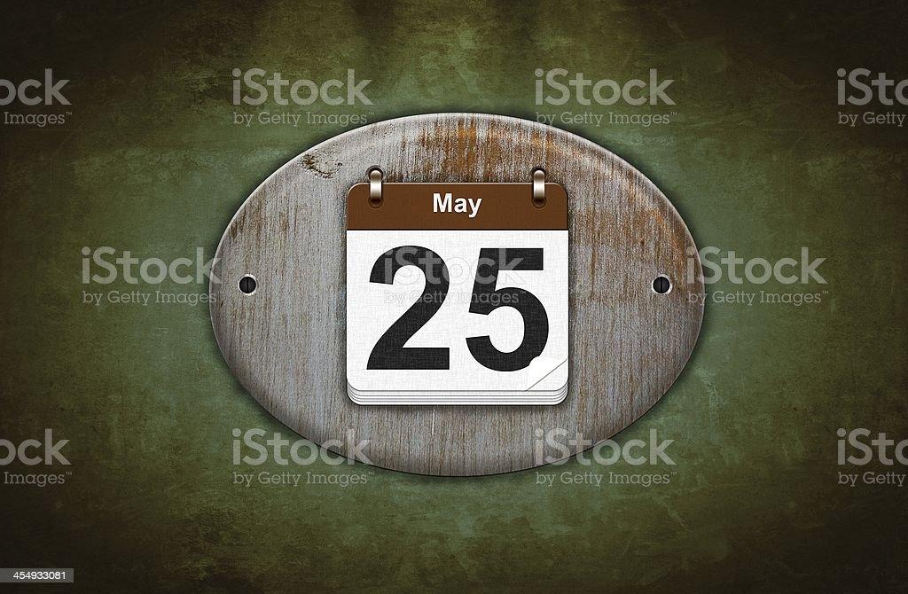 Old wooden calendario con 25 de mayo. - foto de stock