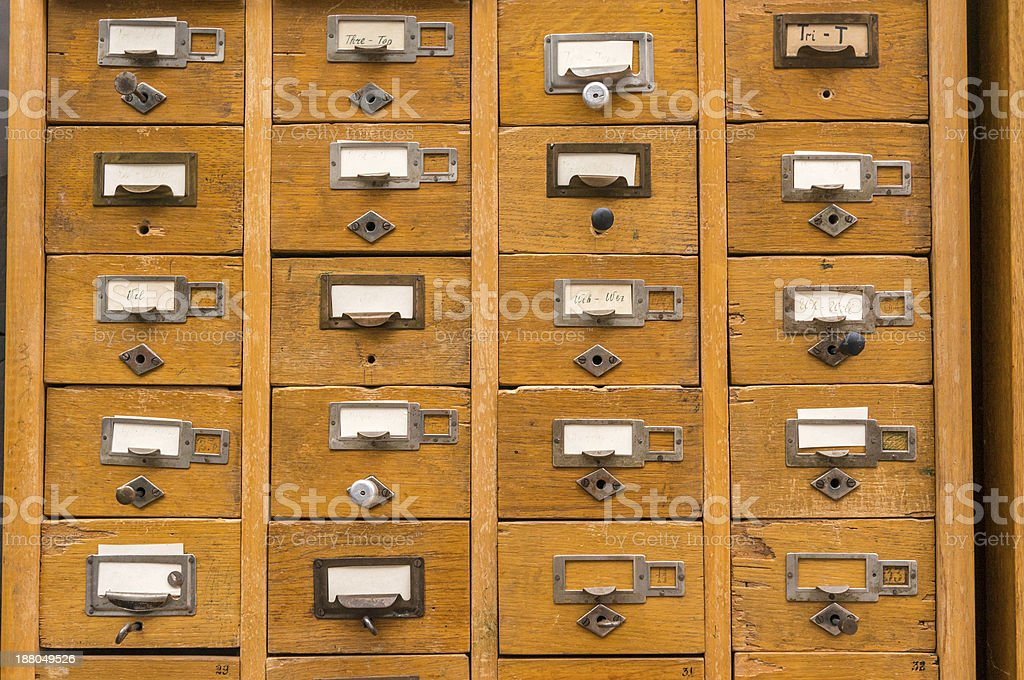 Old wooden card catalog stock photo