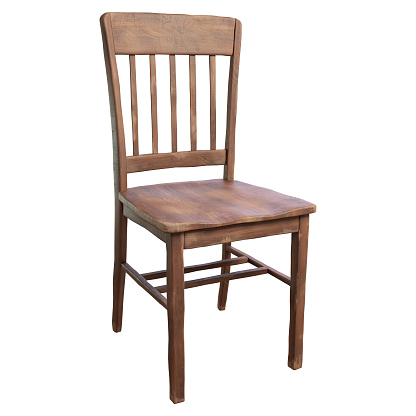 3D Render of a simple, old wooden chair isolated on a white background