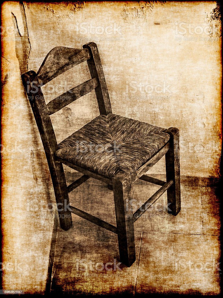 Old wooden chair - retro style royalty-free stock photo