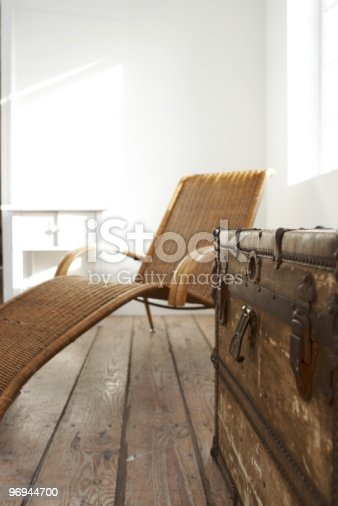 Old Wooden Chest And Brown Canvas Chair Stock Photo & More Pictures of Brown